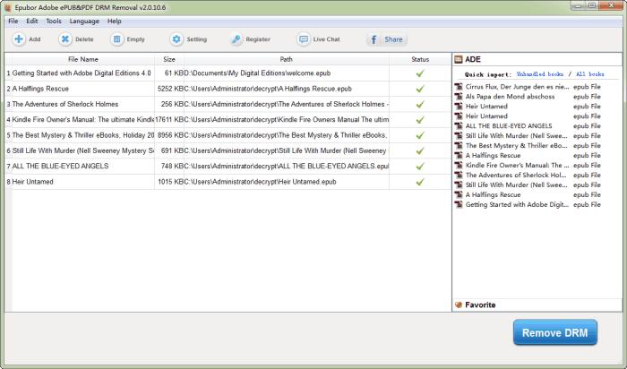 ADE ePUB&PDF DRM Removal interface