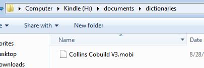 copy dictionary to kindle folder