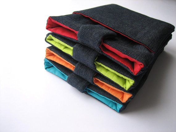 Nexus 7 case cover sleeve handmade with magnetic closure, dark blue jeans and orange with pocket