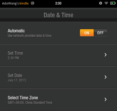 set time and date on kindle fire