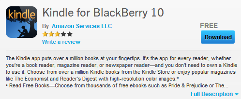 kindle for blackberry 10