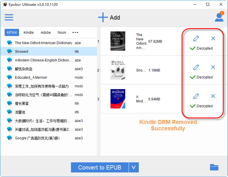 Epubor Kindle DRM Removal full screenshot