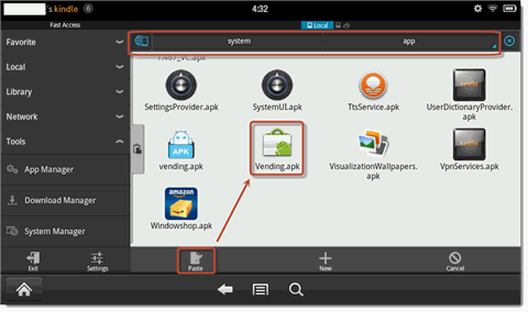 install google play on kindle fire-paste and install vending