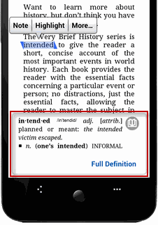 read Kindle books on Android - dictionary done