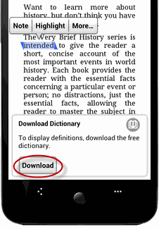 read Kindle books on Android - download dictionary