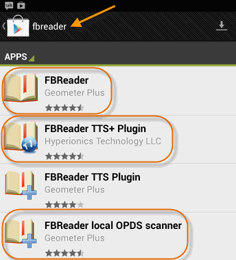 search for FBReader on Nexus 7