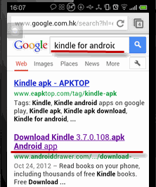 read Kindle books on Android - search for kindle apk