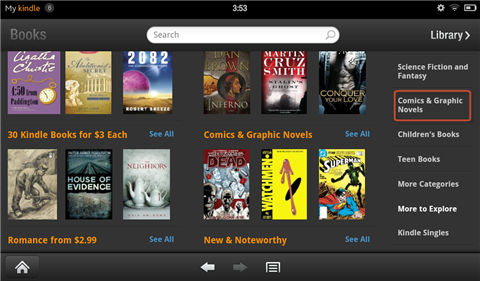 read comics on kindle fire-Select comic category
