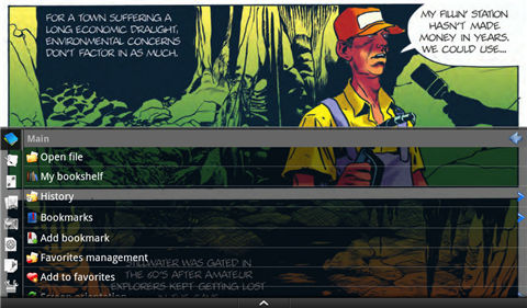 read comics on kindle fire-Menu and settings
