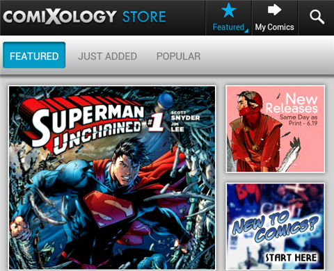 read comics on kindle fire-Main interface