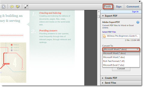 convert pdf to word-adobe exportpdf