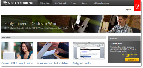 convert pdf to word-adobe exportpdf feature