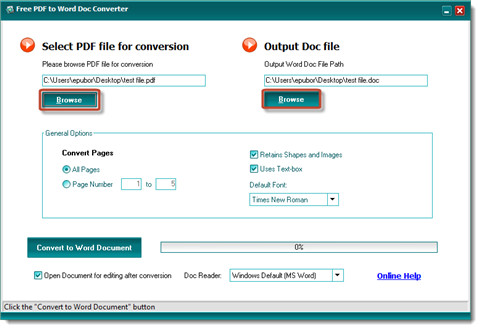 convert pdf to word-select pdf and set options