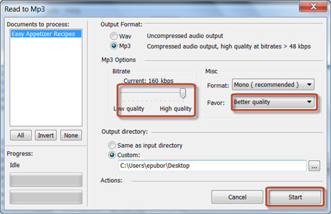 convert text to speech-add file and set option