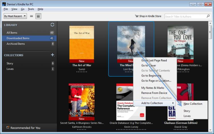 manage kindle collections on pc