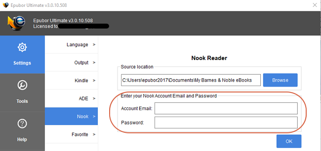Nook-account-settings