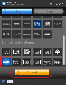 select mobi as output format
