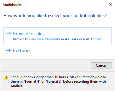 add files to audials