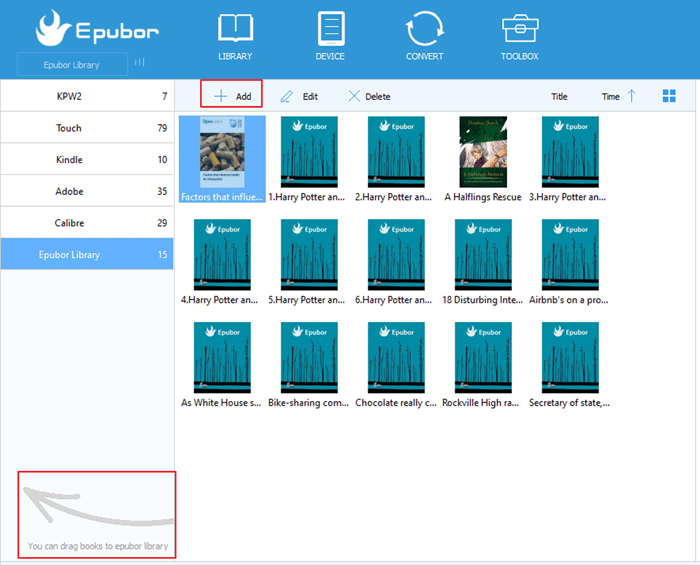 add books to epubor library