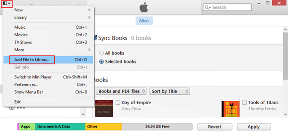 add file to library