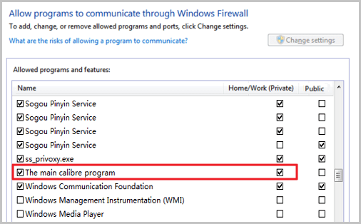 allow the main calibre program through windows firewall