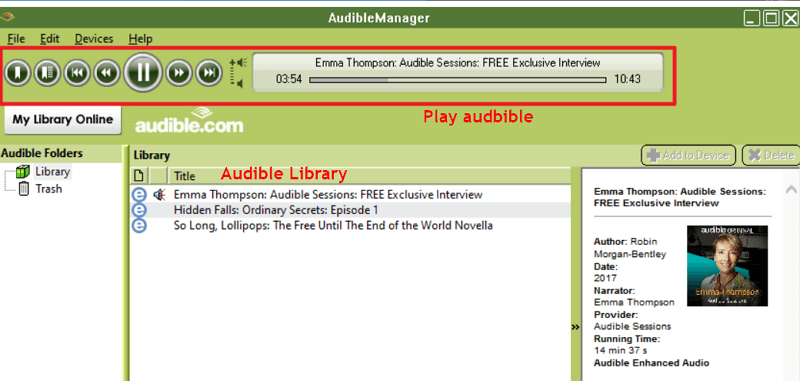 play audible on audible manager