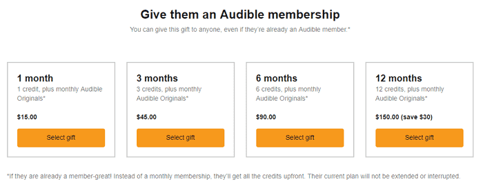 gift an audible membership