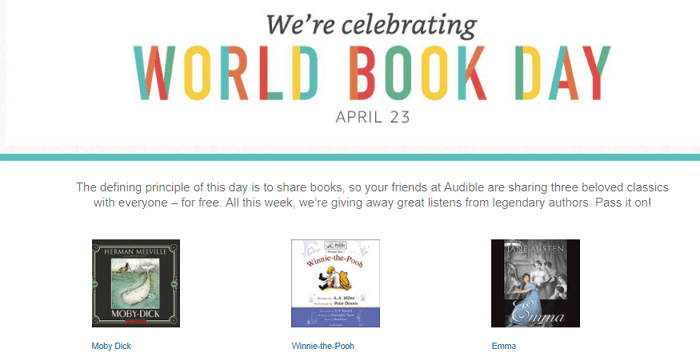 audible free audiobook for world book day