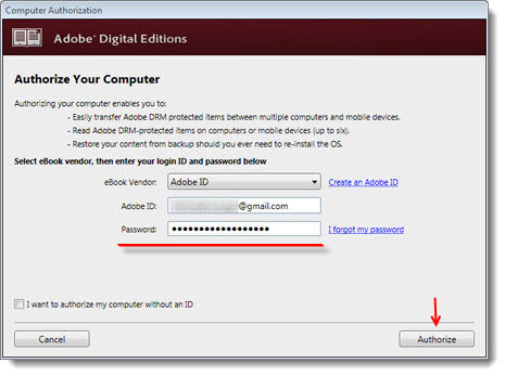 authorize with adobe ID