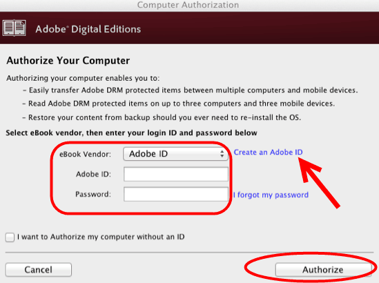 autoriser Adobe ID
