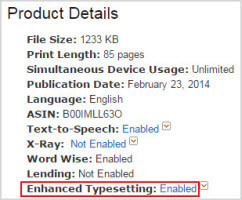 kindle books with enhanced typesettings