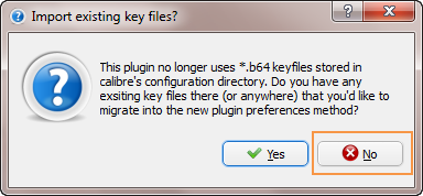 Calibre Nook plugin - import key warning