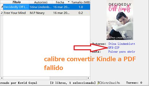 calibre convertir Kindle a PDF fallido