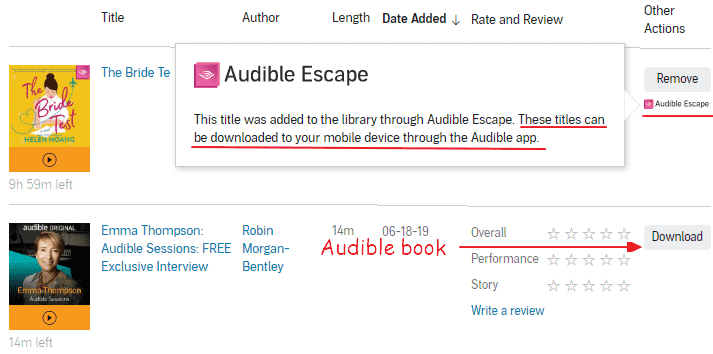 cannot download Audible Escapefrom the site
