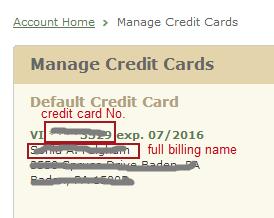 Nook account - card info.