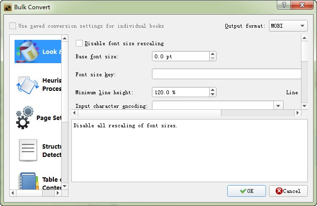 choose Kindle Mobi as output format