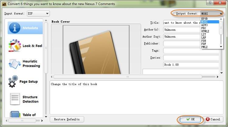 convert HTML to MOBI Calibre