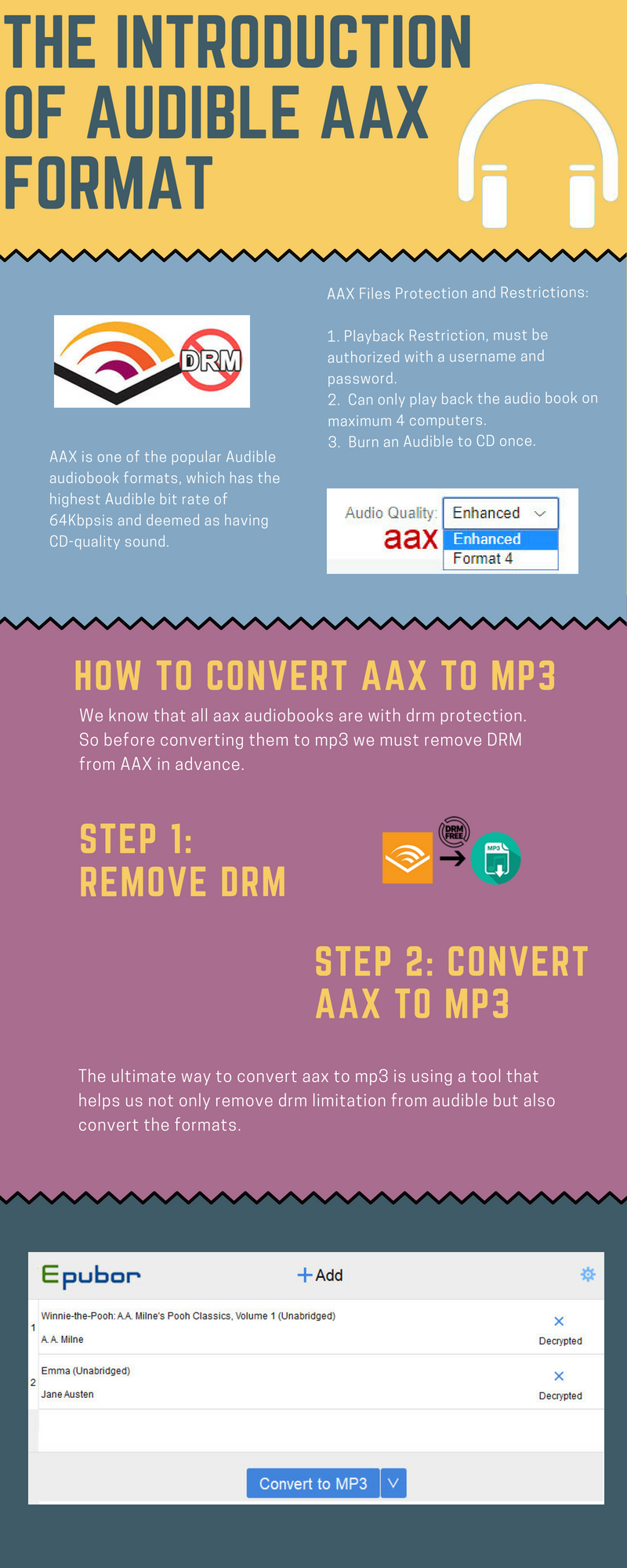 convert aax to mp3 infographic