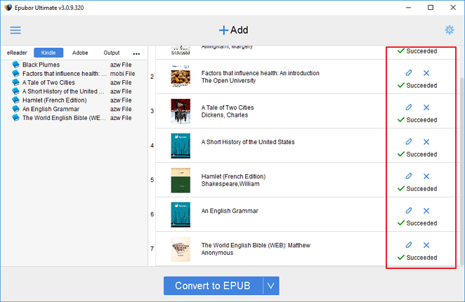 convert kfx to epub pdf mobi successfully