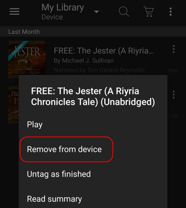 delete audible from android