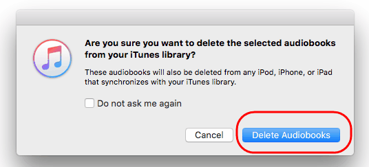 delete audible books from iTunes