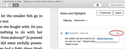 delete kindle bookmark mac