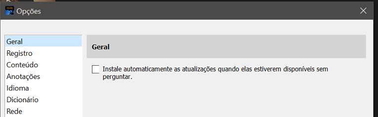 desmarque a opção Instale automaticamente as atualizações