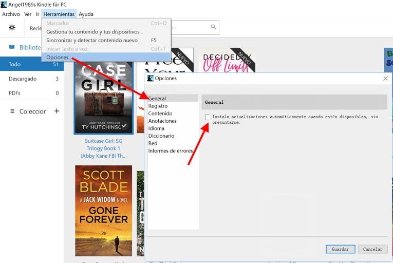 detener la actualización automática de la aplicación kindle