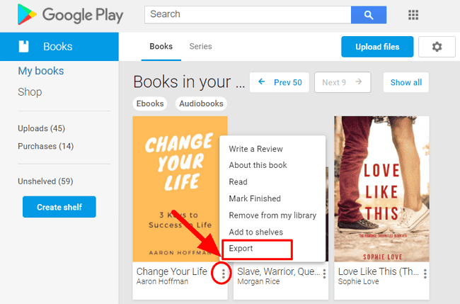 export Google Play Books