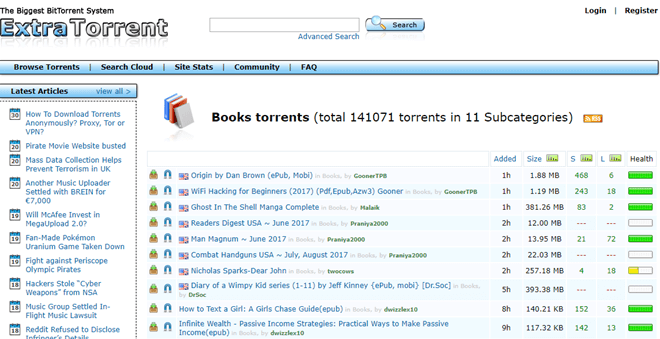 list of torrent sites for books