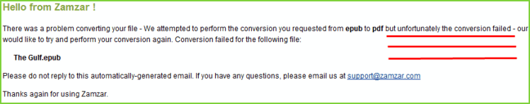 failure warning from online converter sites