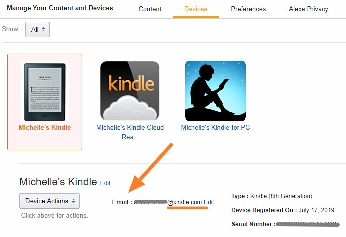Find send to kindle email address