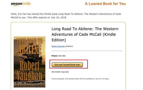 notification de prêt de livre Kindle