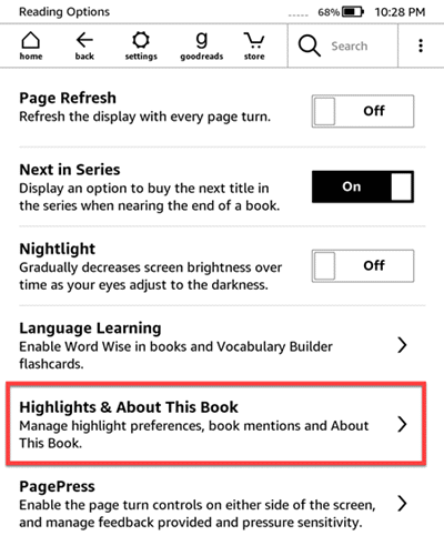 kindle highlights